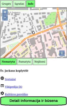 Detali lankytinos vietos informacija