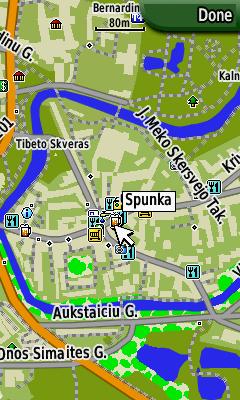 Paprasto Garmin žemėlapio vaizdas įrenginyje