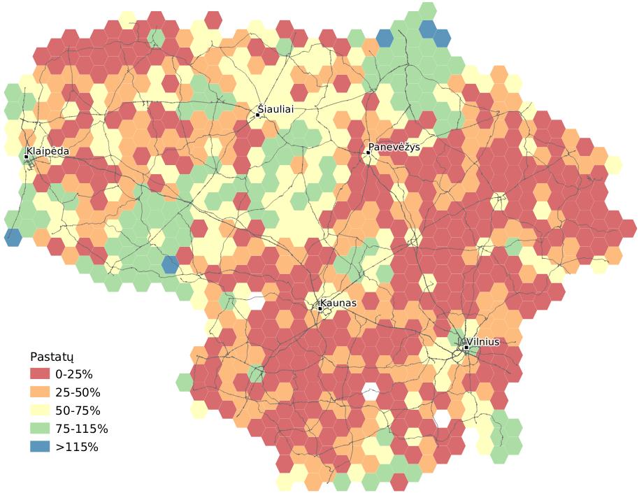 Pastatų skaičiaus palyginimas su GDR