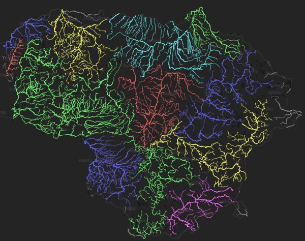 Upių baseinų žemėlapis
